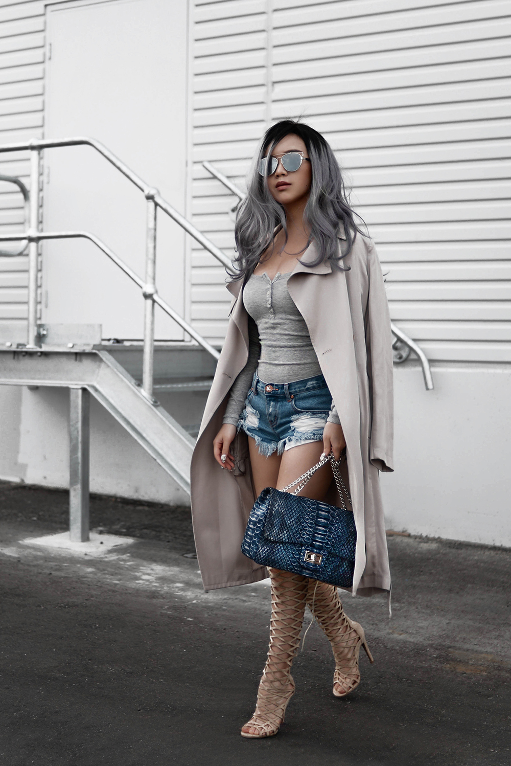 willabelle-ong-paledivision-street-style-fashion-travel-lifestyle-blog-singapore-australia-grey-outfit-editorial-gray-hair-denim-shorts-python-bag-denim-trench
