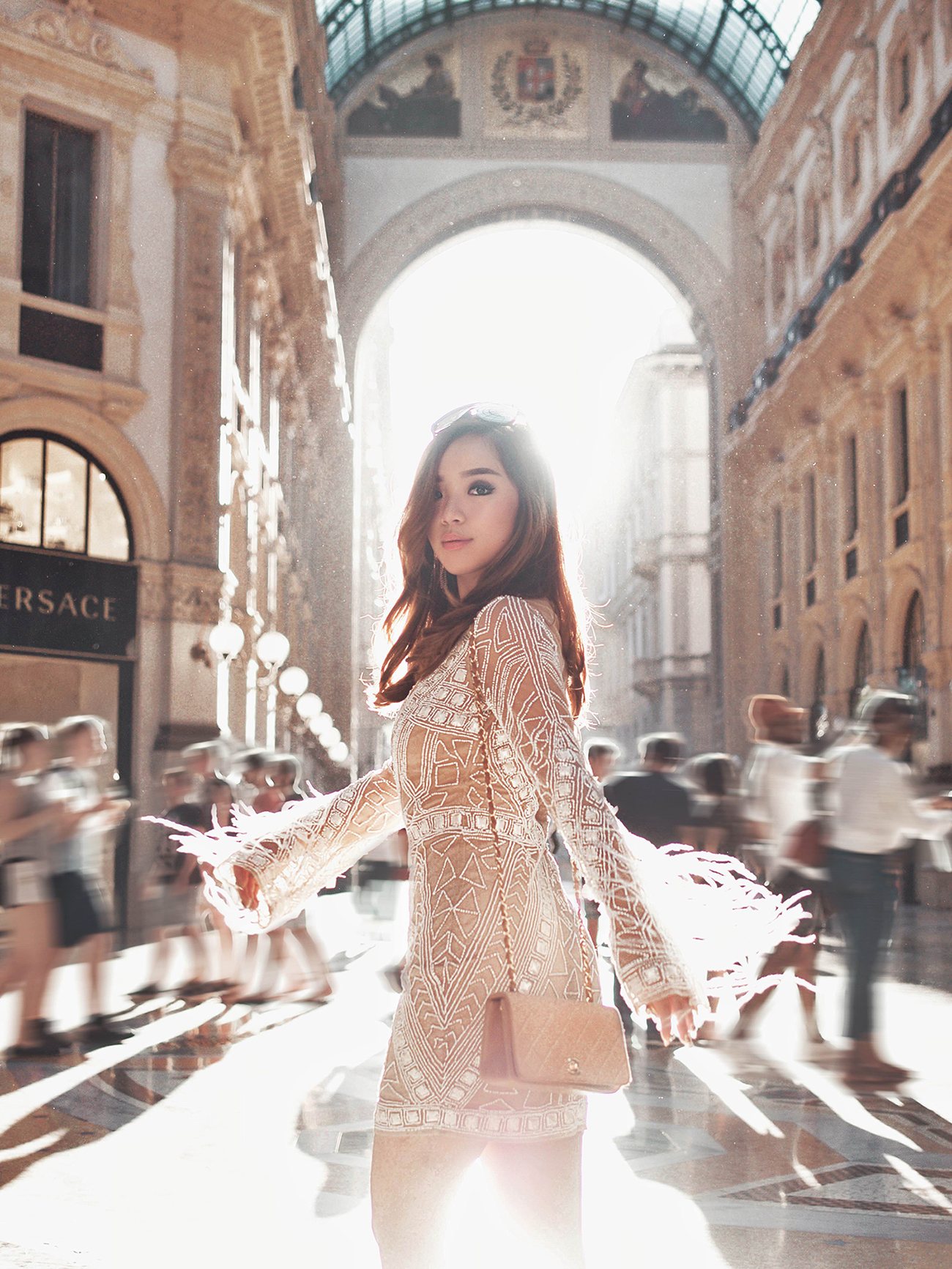 willabelle-ong-paledivision-street-style-fashion-travel-lifestyle-blog-australia-singapore-blogger-italy-milan-missguided-premium-feather-sleeve-beaded-bodycon-dress-galleria-vittorioemanuele-ii