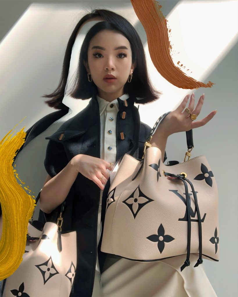 Louis Vuitton's LV Crafty NeoNoe pictured with Willabelle Ong (@willamazing on Instagram and Tiktok)