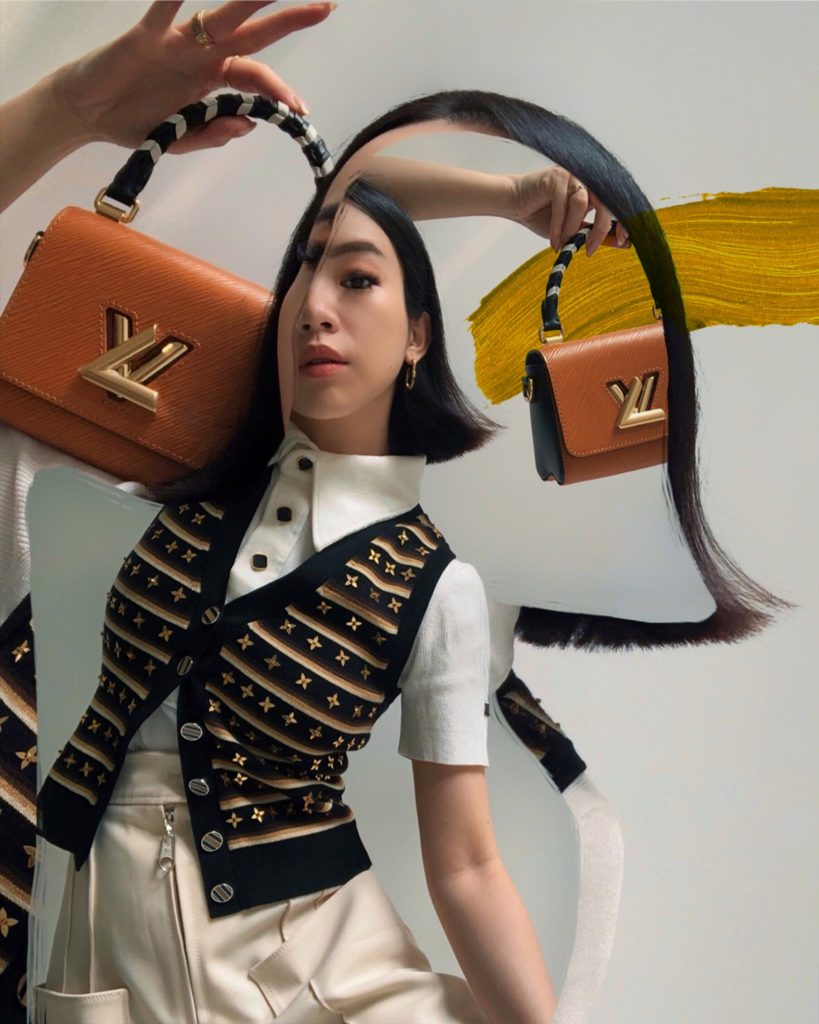 Louis Vuitton's LV Crafty Twist Mini pictured with Willabelle Ong (@willamazing on Instagram and Tiktok)