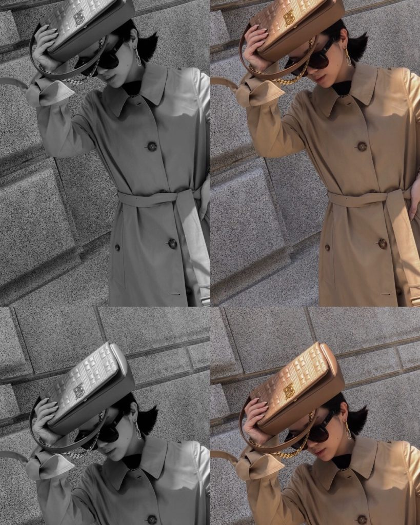 Willabelle Ong in Burberry Tropical Gabardine Car Coat carrying Lola Bag in Beige