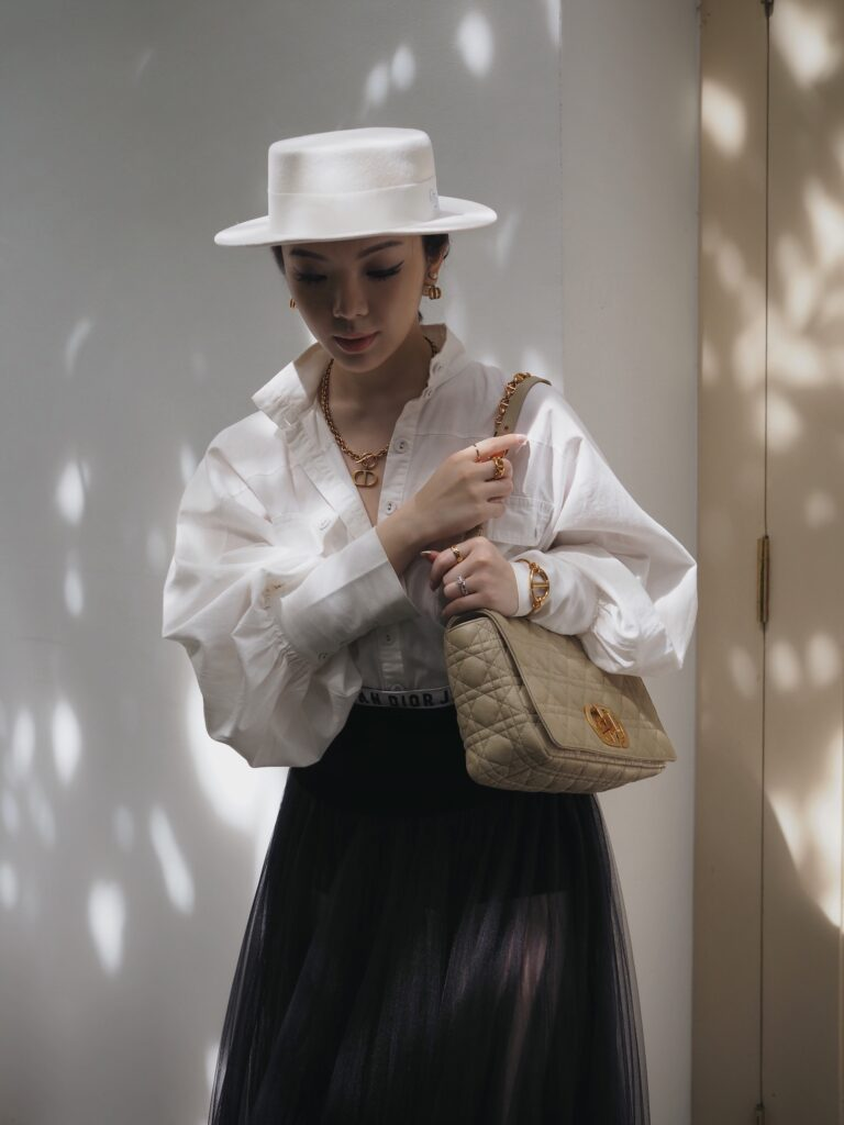 Singapore Fashion Blogger and Digital Creative Willabelle Ong @willamazing dressed in Christian Dior underwear, tulle skirt, Caro quilted leather bag, and CD jewellery